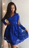 A-Line V-neck Long Sleeves Above-Knee Royal Blue Homecoming Dress with Appliques  S1117