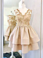 A-Line V-Neck Champagne Satin Short Homecoming Dress with Lace S1119