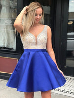 Royal Blue  Beaded Satin Homecoming Dresses with Pocket Backless Mini Hoco Dress    S1129