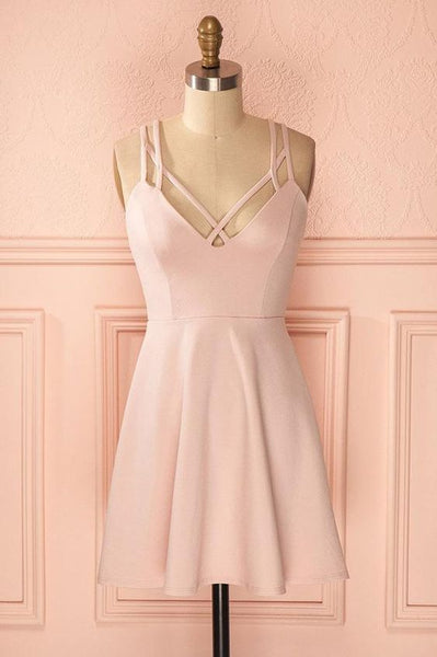 Sexy A-Line Pink Sleeveless Satin Short Homecoming Dress     S1132