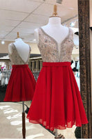 V Neck  Red  Homecoming Dress With Beadings  S1137