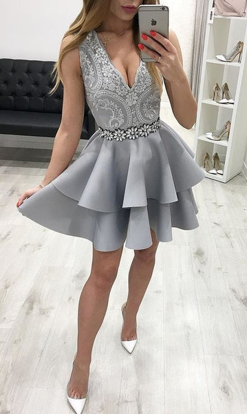 A Line V Neck Grey Lace Short Homecoming Dresses with Beading   S1156