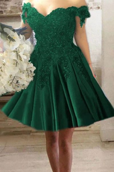A-line V-neck Off Shoulder Lace Flower Beaded Short Homecoming   Dresses    S1161