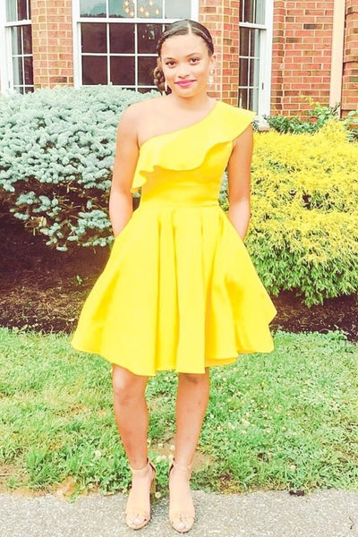 One Shoulder Yellow Homecoming Dress with Ruffles   S1162