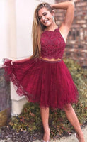 Custom Made 2 Pieces Beaded Lace Homecoming Dress Fashion Short Tulle Gratuation Party Dress   S1165