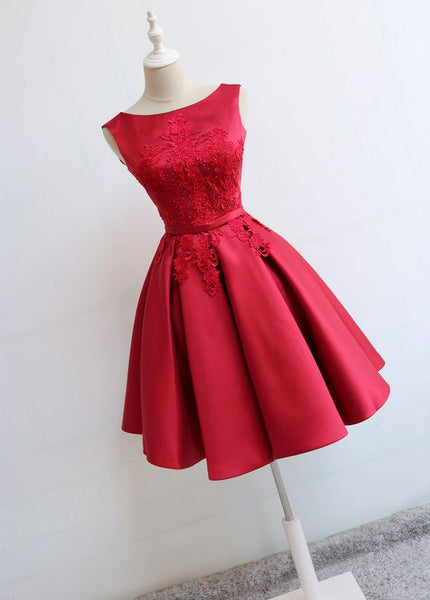 Red Round Neckline Short Satin Party Dresses, Red Formal Dresses, Short Homecoming Dress   S1166