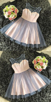 A-Line Round Neck Pink Tulle Homecoming Dress With Appliques S1173