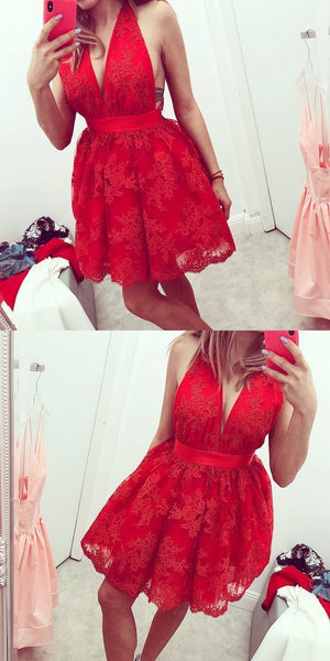 Charming Lace Tulle Red Prom Dress, Sexy Sleeveless Short Homecoming Dress S117