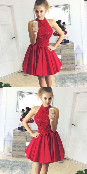 A-Line Halter Backless Red Satin Homecoming Dress with Lace  S1180