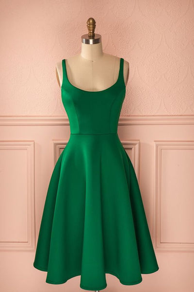 A-Line   Green Satin Homecoming Dress  S1181