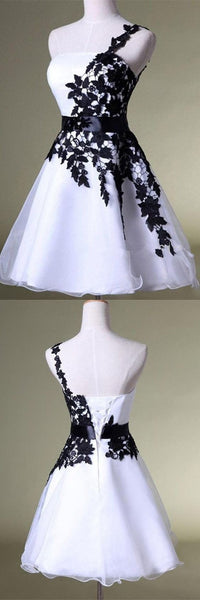 White&Black One Shoulder Homecoming Dress Lace Short  Puffy Homecoming  Dress S1192