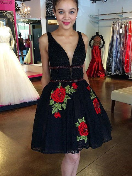 Black Lace Homecoming Dress  Embroidery V Back  S1198