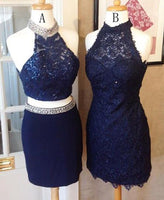 Stunning Two Piece Halter Navy Blue Sheath Homecoming Dress with Beading Lace S120
