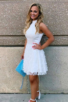 High Neck White Homecoming Dress S1207