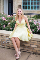 Spaghetti Straps Short Yellow Homecoming Dress S1210