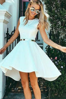 High Low Bateau Sleeveless White Satin Homecoming Dress   S1227