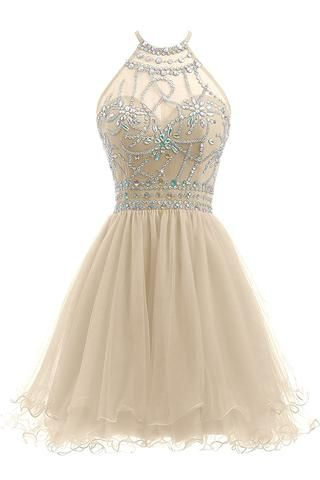 Beaded Halter Homecoming Dress Short Tulle Prom Dress  S1230