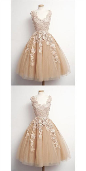 Cute Champagne A Line V Neck Appliques Tulle Homecoming Dresses  S1232