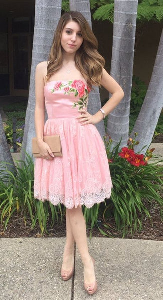 Enticing Homecoming Dresses Pink, Lace Homecoming Dresses   S1237