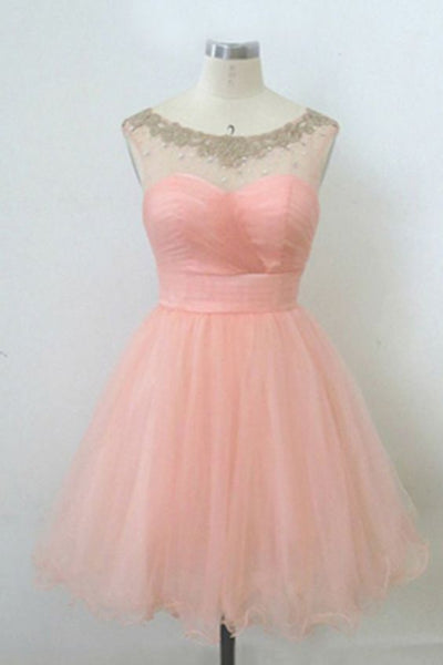 Blush Pink Lace Short Homecoming Dress,A-line Tulle Beaded Short Simple  Homecoming Dresses   S1239