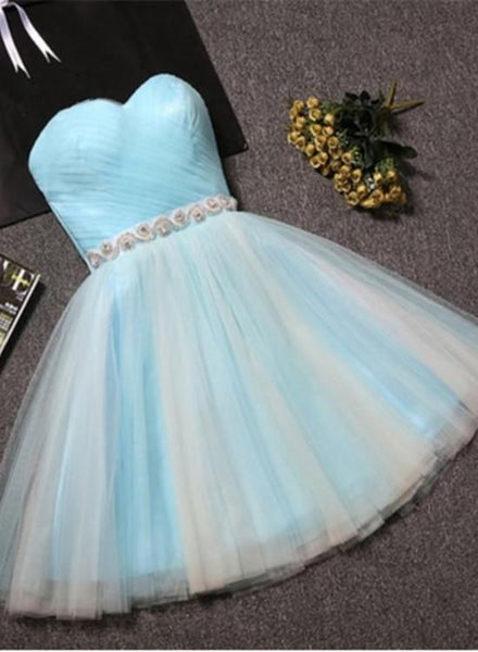 Cute Sweetheart Blue Tulle Knee Length Party Dress, Tulle Formal Dress , Short  Homecoming Dress    S1244