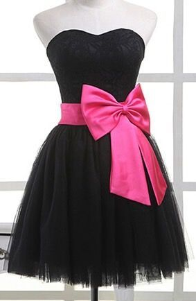 Short homecoming  dress,black homecoming  Dress,strapless homecoming  dress  S1248