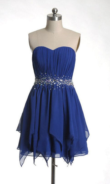Royal Blue Short Chiffon Homecoming Dresses with Crystals  S1249