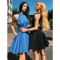 New Arrival Halter Simple Cheap Sleeveless Homecoming Dresses With Pleats  S1252