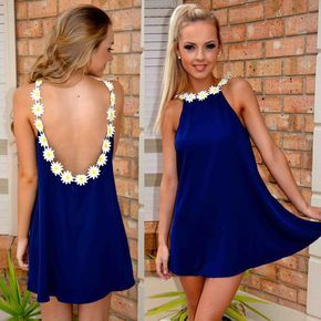 Backless Loose Chiffon A-line Short Dress S126