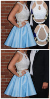 Sexy Halter Sky Blue Two Pieces Homecoming Dress, Open Back Satin Pearls Homecoming Dress  S1260