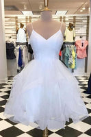 Sparkly White Tulle A-line V-neck Spaghetti Straps Homecoming Dresses S1264