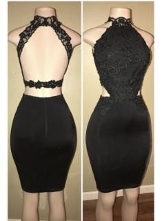 Sheath Black Halter Lace Applique Backless Homecoming Dresses S1267