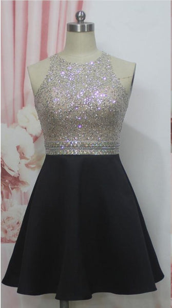 Beaded Jewel Neck Short Homecoming Dress , Knee Length Homecoming Dress S1270