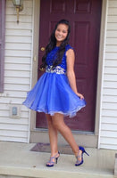Royal Blue Beading Homecoming Dresses,O-Neck Graduation Dresses  S1272