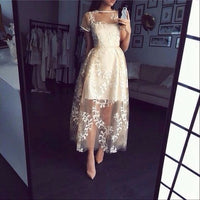 Applique Prom Dress,Short Sleeve Prom Dress,Fashion Prom Dress,Sexy Party Dress,Custom Made Evening Dress S1277