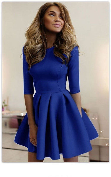 Casual Elegant Pure Color Half Sleeves Mini Homecoming Dress   S1282