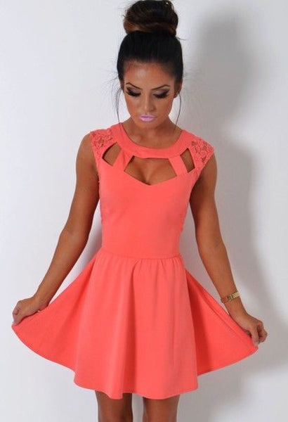 Casual Elegant Pure Color  Mini Homecoming Dress   S1283