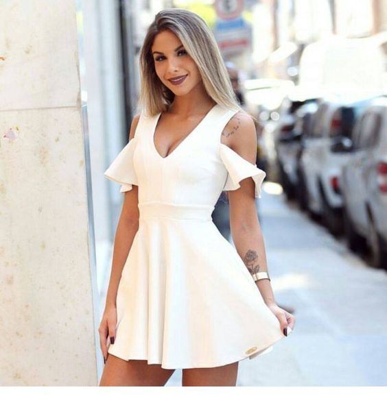Sexy Homecoming Dresses   , White Satin Homecoming Dress  , V Neck  Homecoming Dress  S1288