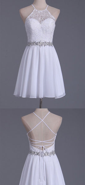 White Halter Homecoming Dresses A Line Chiffon & Lace  S128