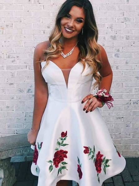 White Homecoming Dresses,Sweetheart Neckline Homecoming Dress S1291