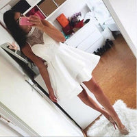 A-Line Round Neck Short White Elastic Satin Homecoming Dress with Lace  S1293