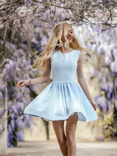 Blue Satin With Pearl Neckline Sleeveless Homecoming Dresses S1791