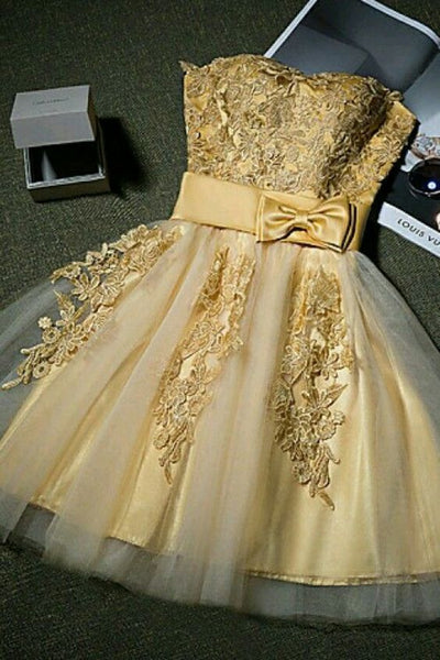 A-Line Gold Tulle Short Homecoming Dresses With Strapless S1887