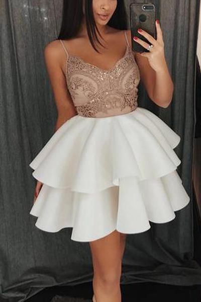 Short Spaghetti Straps V-Neck Homecoming Dress S12