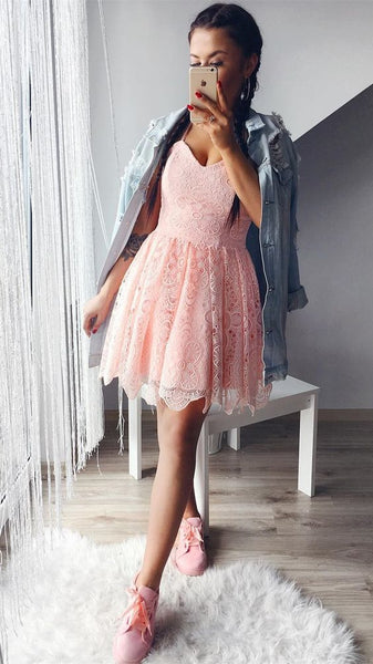 A-Line Spaghetti Straps Sleeveless Pink Homecoming Dress  S1303