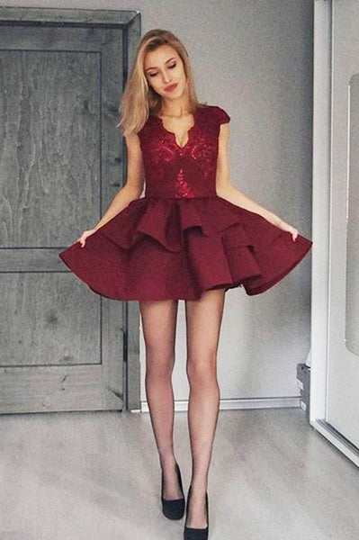 Burgundy V Neck Mini Homecoming Dress,  A Line Two Layers Satin Homecoming Dress With Lace S1312