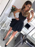 A-Line Spaghetti Straps Black  Satin Homecoming Dress S1311