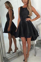 Custom Made Enticing Short, Sleeveless, High Low  Black Homecoming Dress  S1314