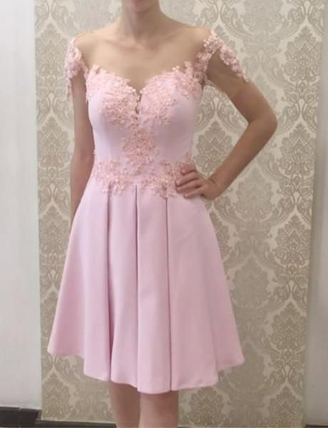 A Line Off the Shoulder Pink Short Homecoming Dress with Appliques  S1317
