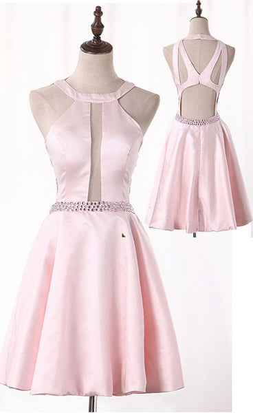 A Line Homecoming Dresses Satin With Beading Open Back   S1321